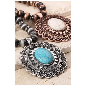 Jewelry - Bohemian Mandala Flower Natural Stone Necklace Set